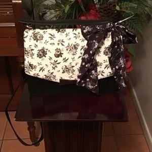 Betsey Johnson Black & White Floral Satchel